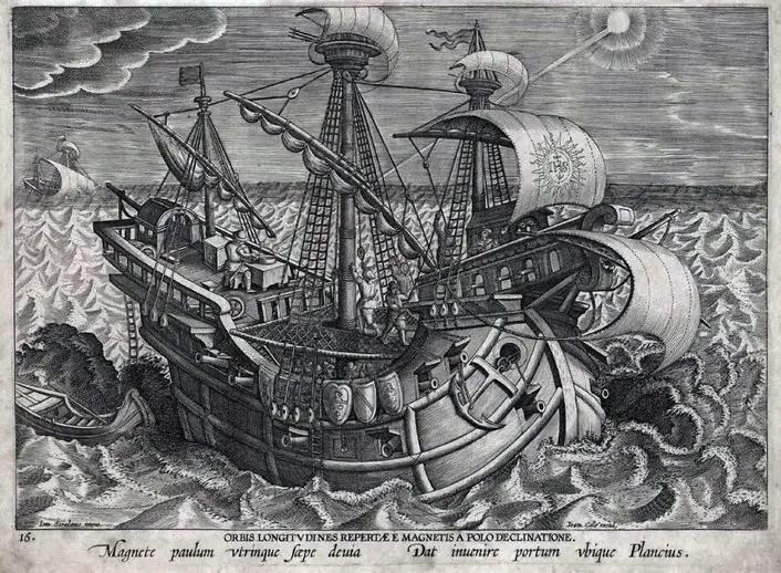 Grabado en el cual puede verse a un barco navegando por los mares.