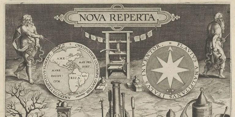 Ilustración de la portada de la Nova reperta mostrando varios dispositivos, un hombre apuntando a un mapa de américa y una prensa entre otros.