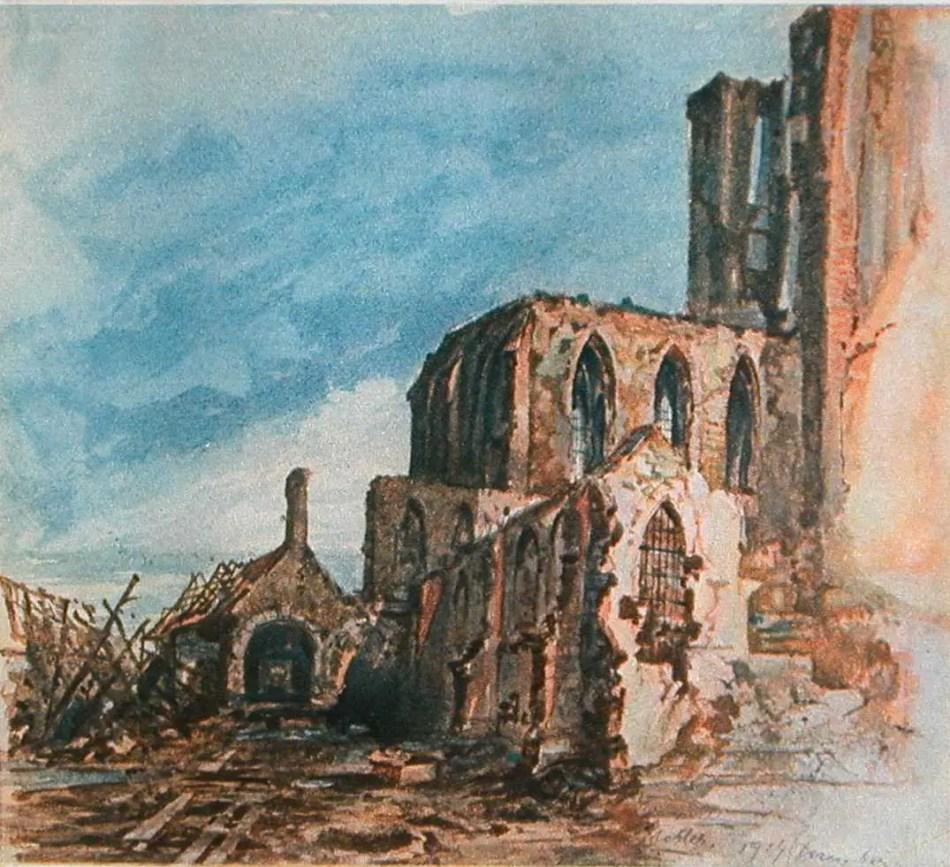 Una de las pinturas de Hitler. En la misma vemos un conjunto de ruinas.