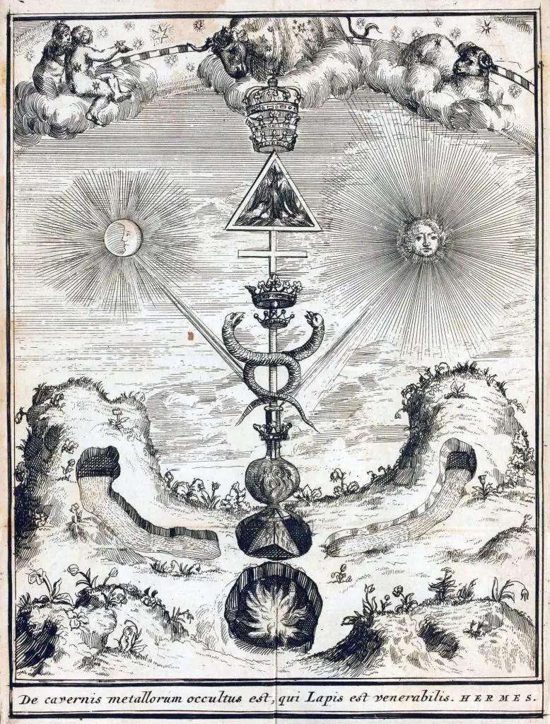 Ilustración del triunfo hermético, podemos ver el báculo de Hermes.
