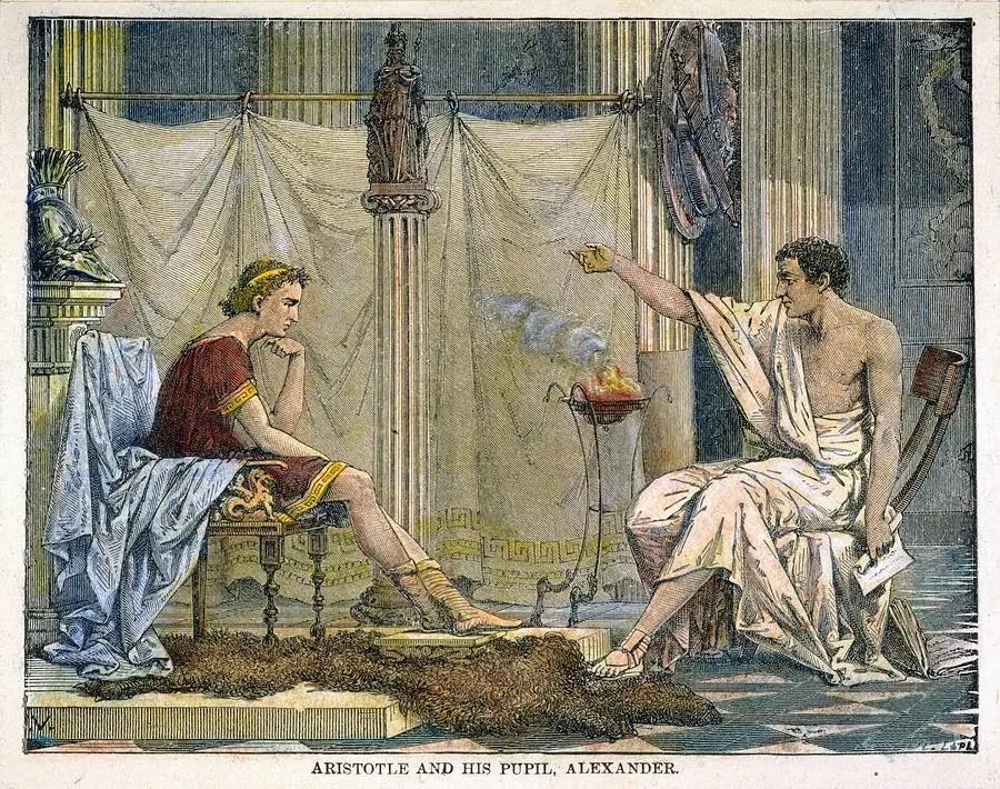 Grabado de Aristóteles impartiendo clases a Alejandro el Grande.