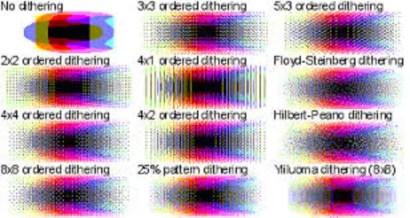Ejemplos de dithering en los formatos gráficos GIF.