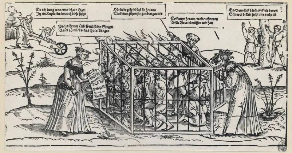 Ilustracion de Erhard Schön en la que vemos a unos bufones enjaulados mientras unos profesores intentan enseñarles.
