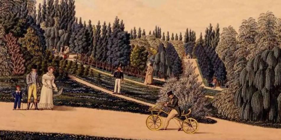 Ilustración del primer tipo de bicicleta en la Historia.