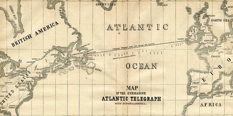 Mapa del primer cable de telégrafo transoceánico