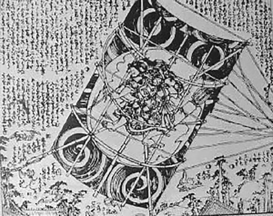 Ilustración de un arquero chino montado a una cometa.