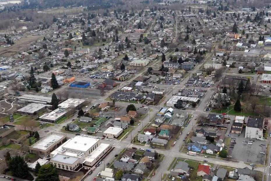 Vista aérea del pueblo de Centralia.