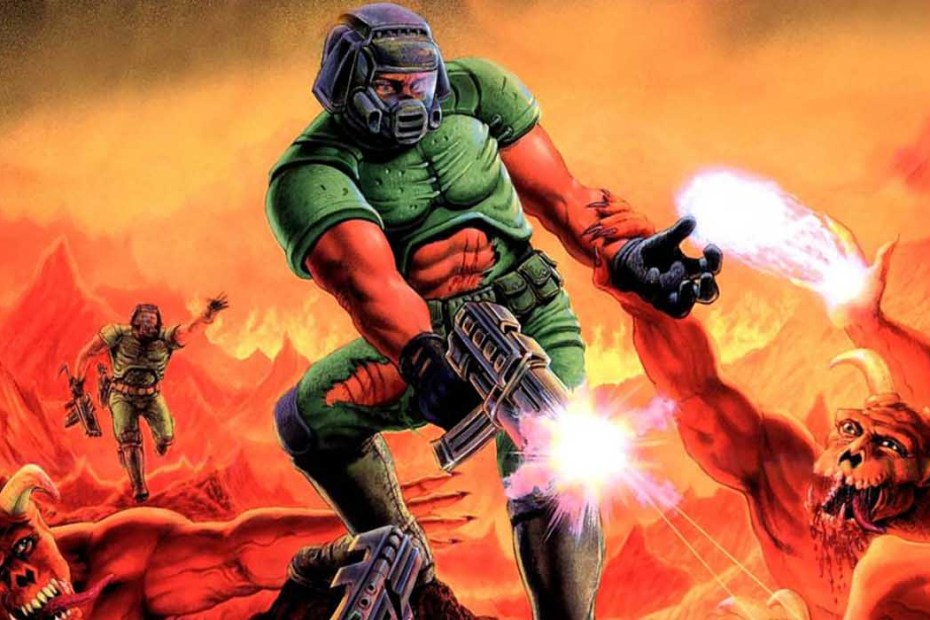 Arte de portada del clásico de los video juegos Doom.