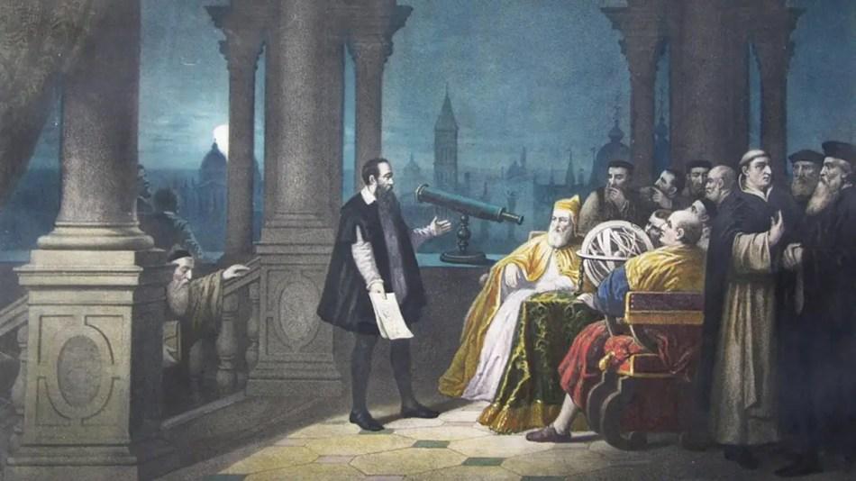 Pintura del siglo XVIII de Galileo Galilei demostrando su telescopio.
