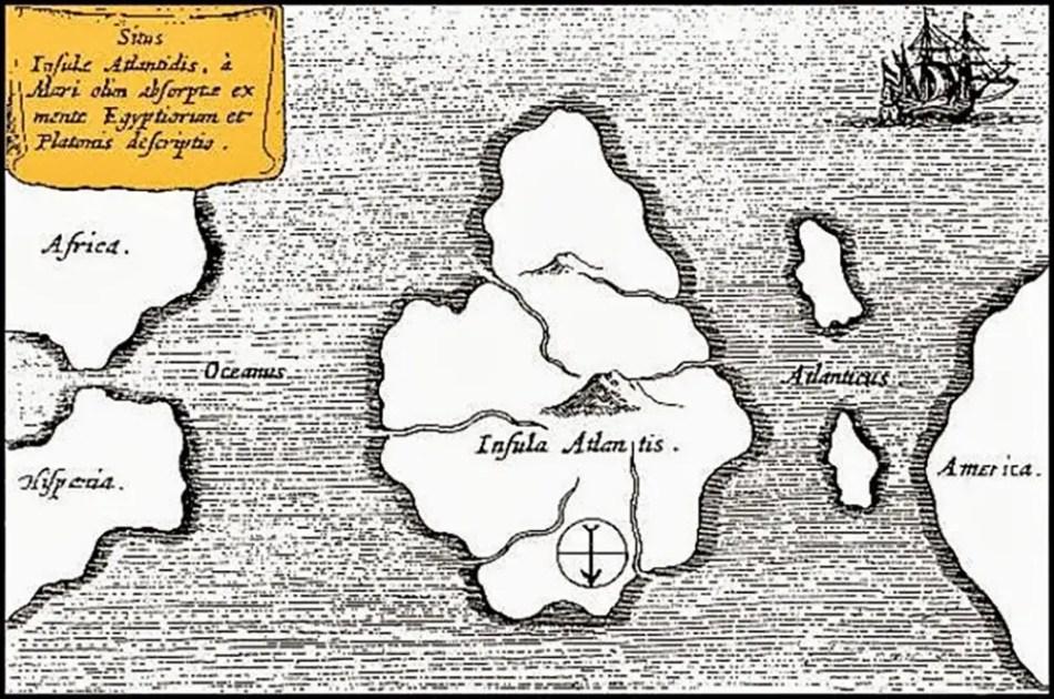Mapa de la tierra incógnita de la Atlántida.
