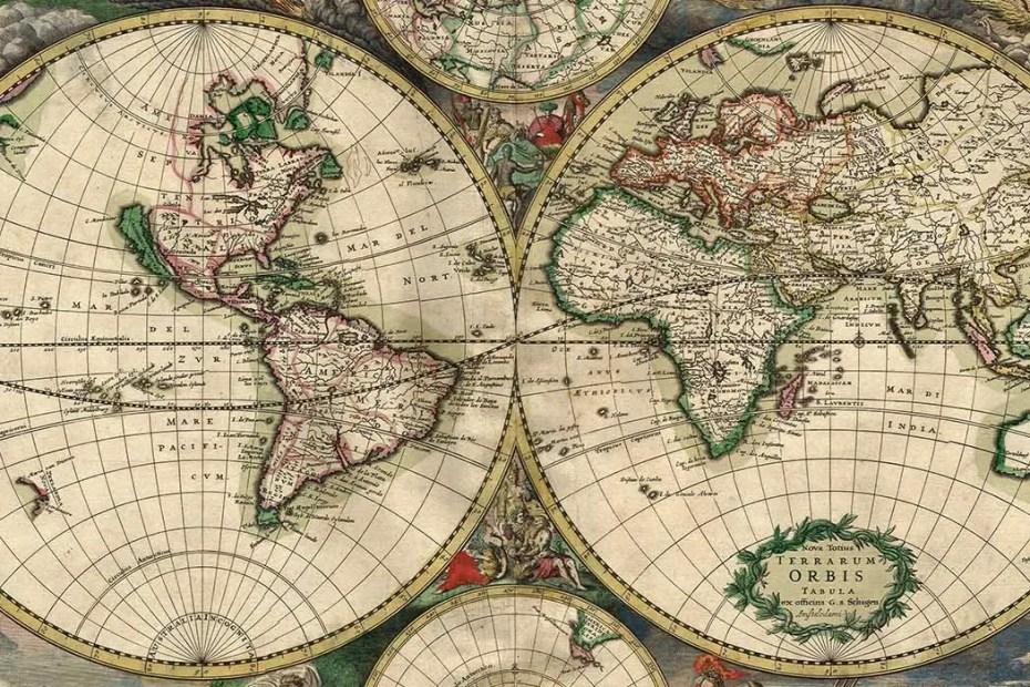 Detalle de un mapamundi del siglo XVII, más precisamente del año 1689.