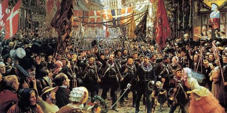 Pintura de la marcha triunfal de los soldados dinamarqueses.