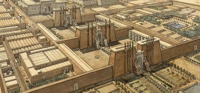 Ilustración de la ciudad de Tebas en el pasado.