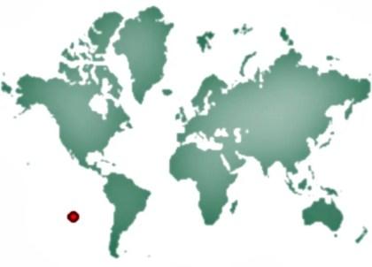 Mapamundi ubicando al aeropuerto de Mataveri.