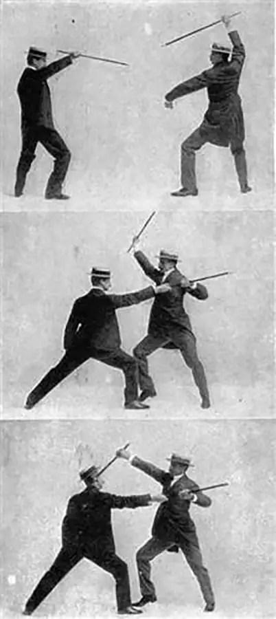 Fotografías antiguas sobre técnicas de bartitsu.