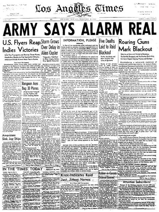 Recorte de periódico de 1942 de Los Angeles Times.