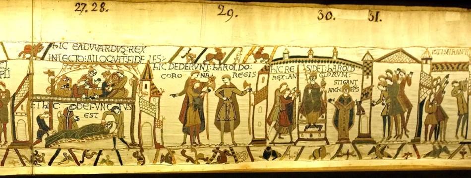 Fragmentos 27, 28, 29, 30 y 31 del tapiz de bayeux.