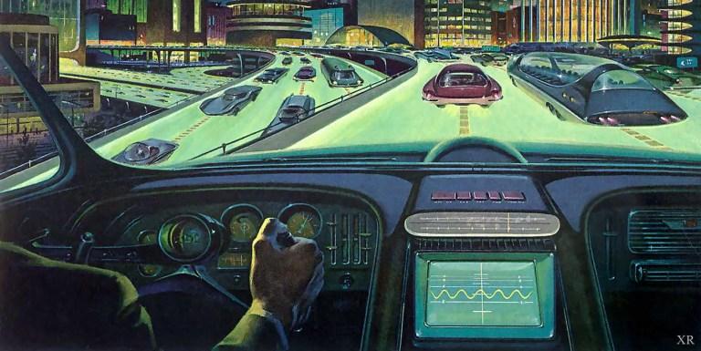 Ilustración de un hombre condunciendo en una ciudad del futuro.