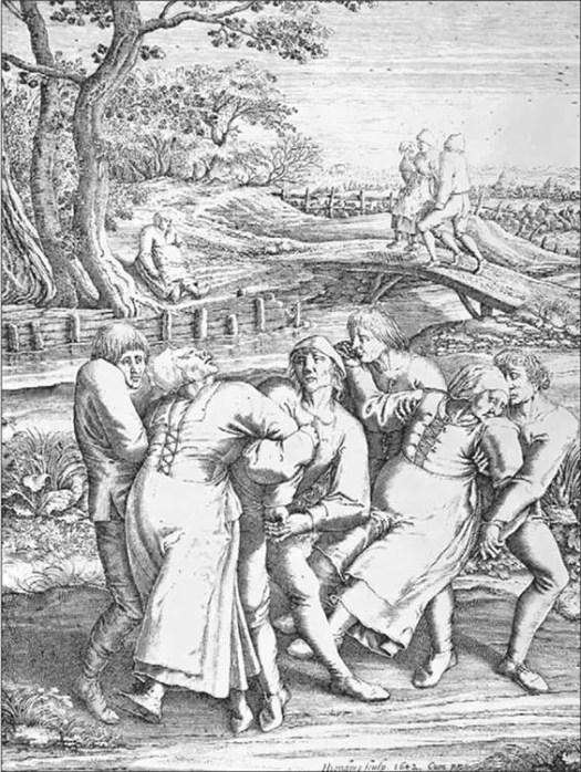 Grabado antiguo en el que vemos un ejemplo de la manía del baile.