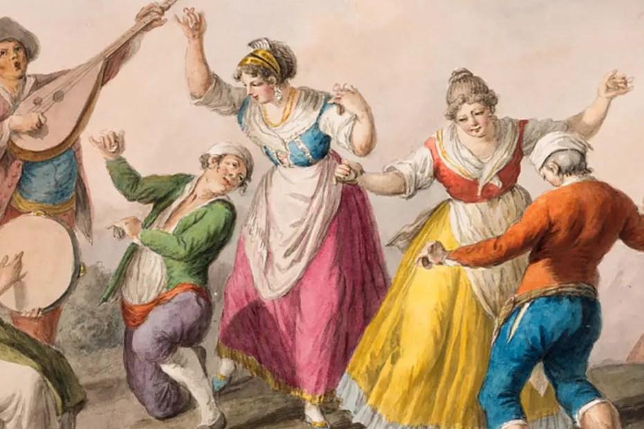 Pintura de personas danzando.