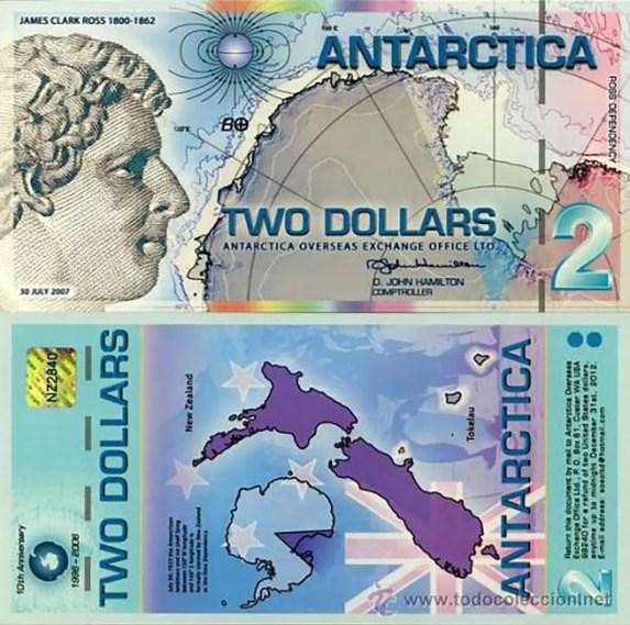 Billete de dólar antártico de 2 dólares emisión del 2012.