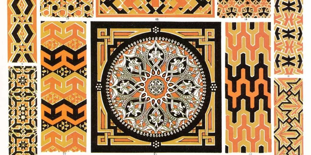 Placa con distintos patrones ornamentales de La Gramática del Ornamento.