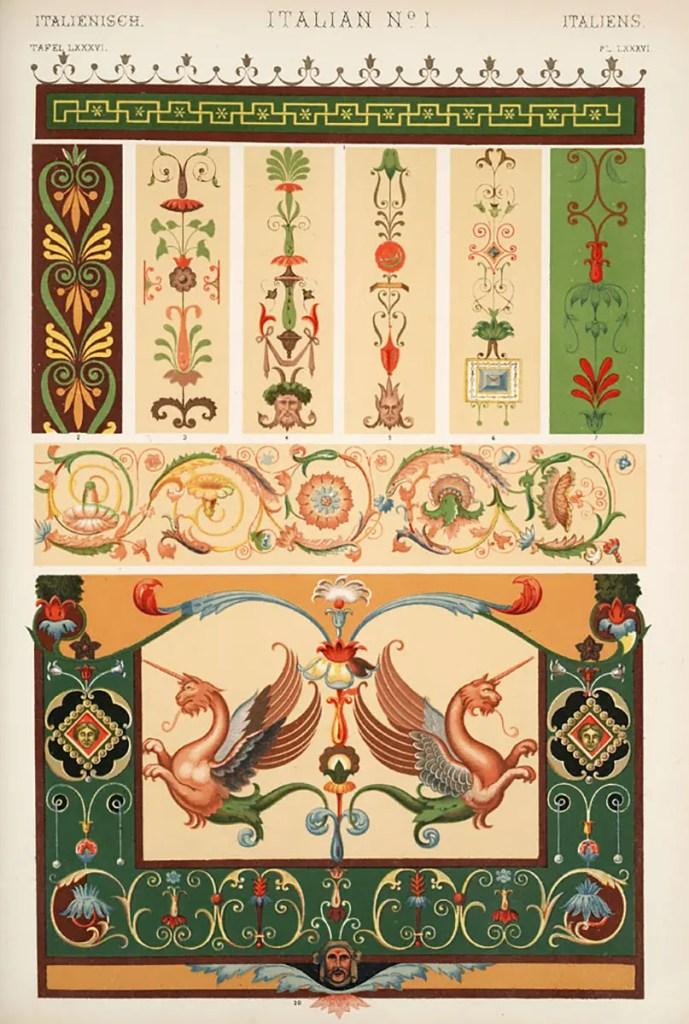 Página número uno con la sección de los ornamentos de la cultura italiana.