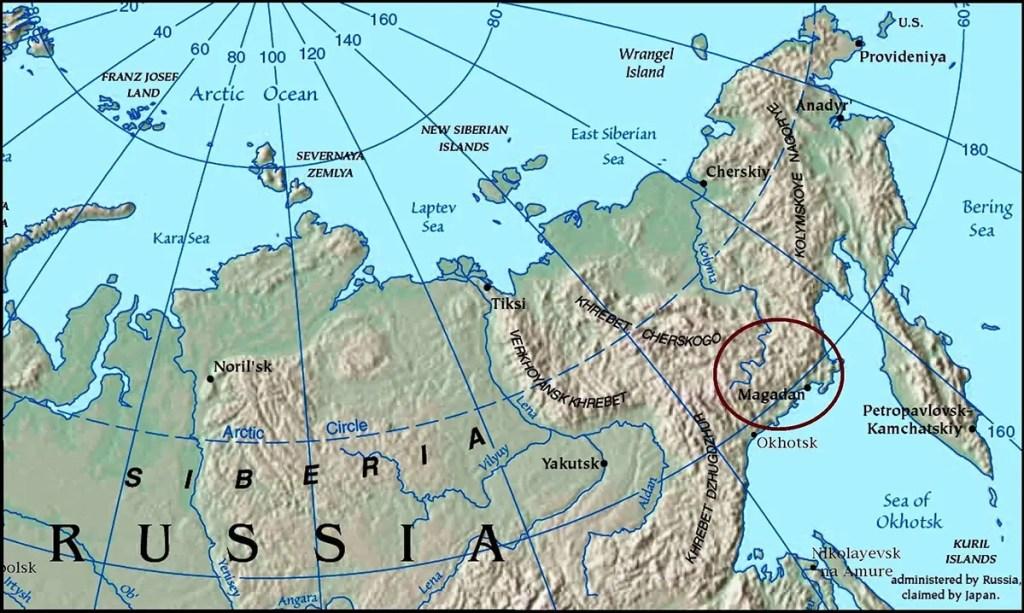 Mapa de Siberia y las regiones del este de Rusia.