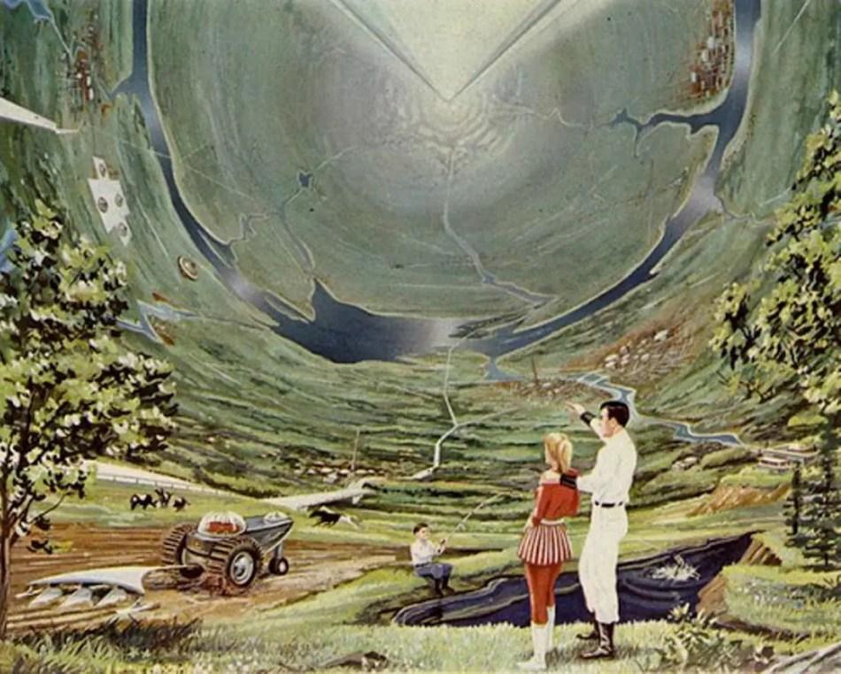 Pintura de una base espacial terraformada.