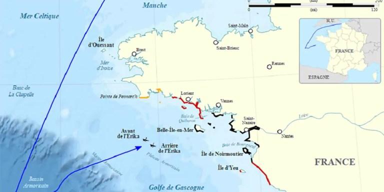 Mapa del naufragio de MV Erika