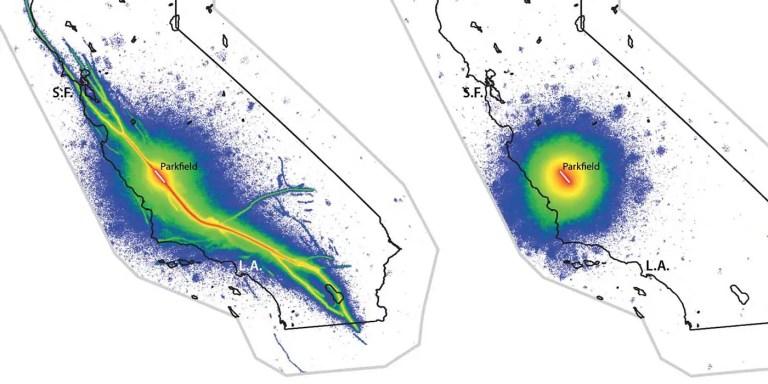Mapa de la actividad sismica en Parkfield.