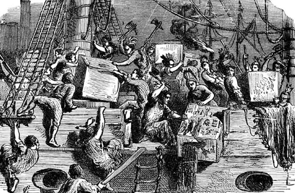 Grabado de la revolución del té de Boston.