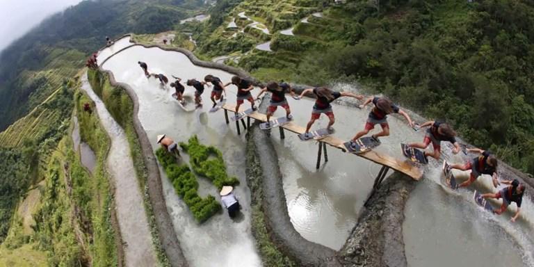 Wakeskating en las terrazas de Banaue, un paisaje digno de Minecraft