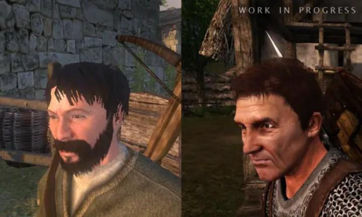 Comparación de un rostro de Warband y uno de Bannerlord.