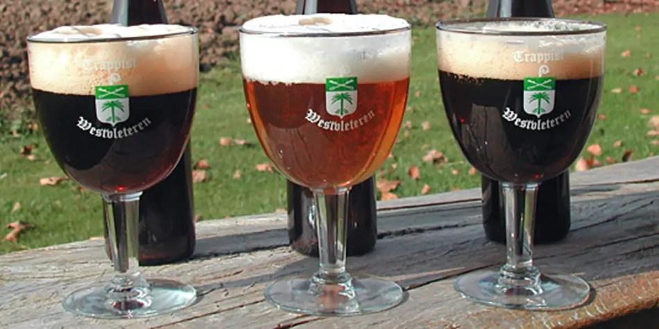 Las tres variedades comerciales de cerveza trapense.