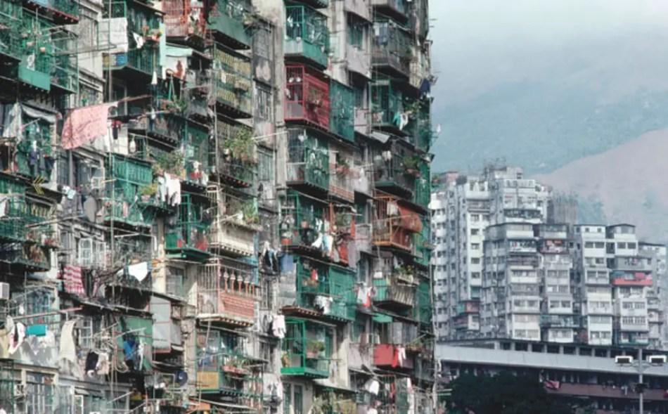 Balcones de los edificios de Kowloon.