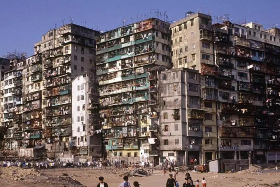 Detalle de las fachadas de los edificios de Kowloon.
