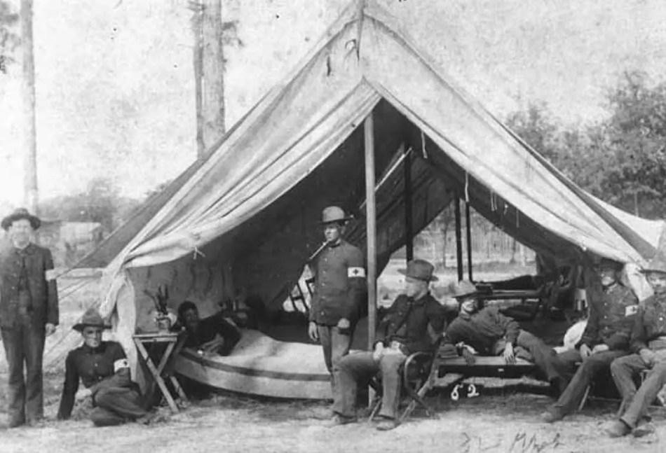 Carpa médica de los doctores de la Guerra Civil Americana.