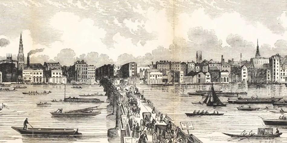 Ilustración de una protesta en el río Támesis.