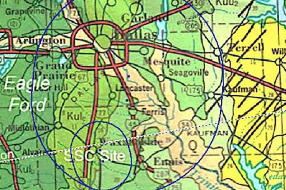Mapa de la ubicación planeada del SSC.