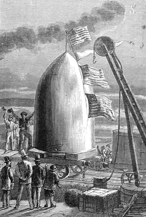 """Grabado antiguo ilustrando la """"bala lunar"""" de Julio Verne."""