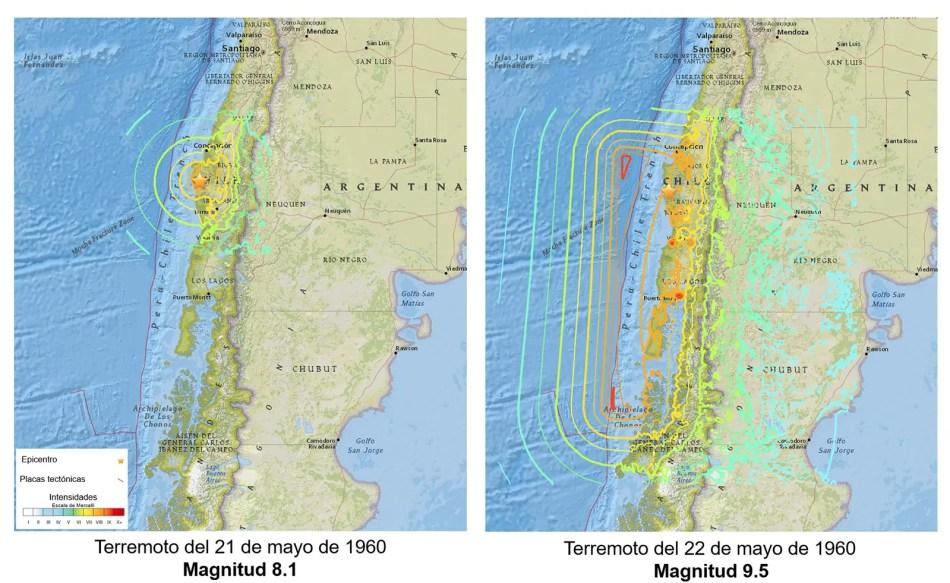 Mapa de los terremotos que tuvieron lugar en Valdivia.
