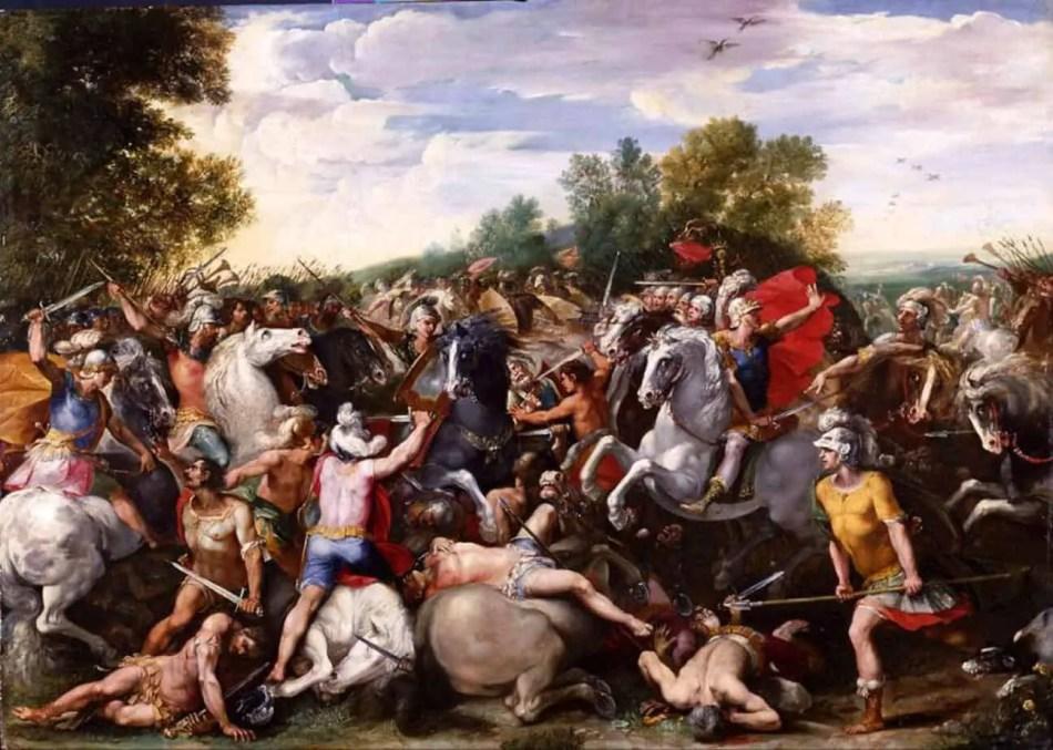 Pintura representando al rey sabino de Roma Tulio Hostilio.