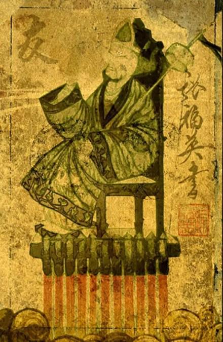 Ilustración de época de la silla cohete de Wan Hú.