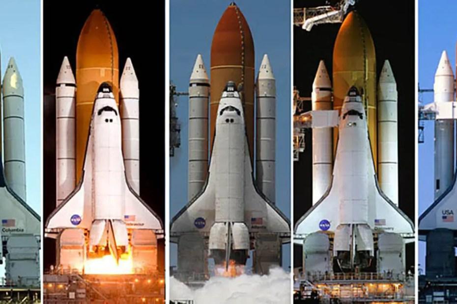 Varios lanzamientos de transbordadores espaciales de la NASA.