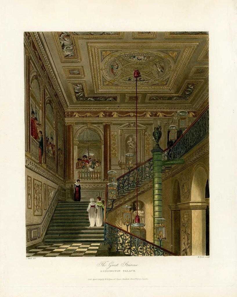La gran escalera del Palacio Kensington.