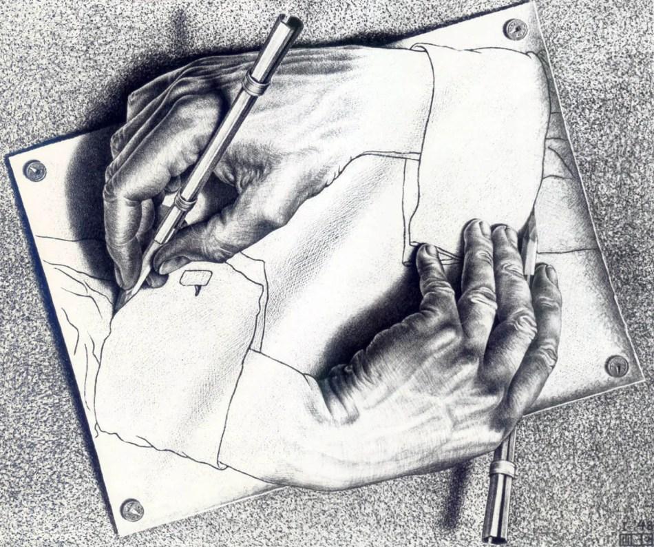 Manos dibujadas, una de las obras más famosas de Maurits Escher.