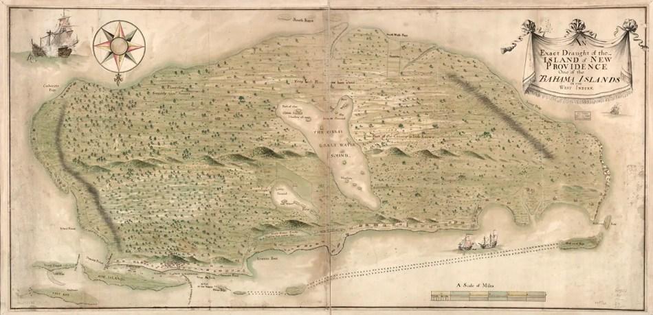 Mapa de la Isla de Nueva Providencia.