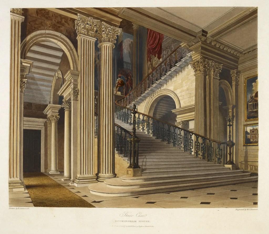 Las escaleras del Palacio de Buckingham, arquitectura ilustrada en la Historia de las Residencias Reales.