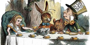 Alicia en el país de las maravillas con el conejo y el sombrerero loco.